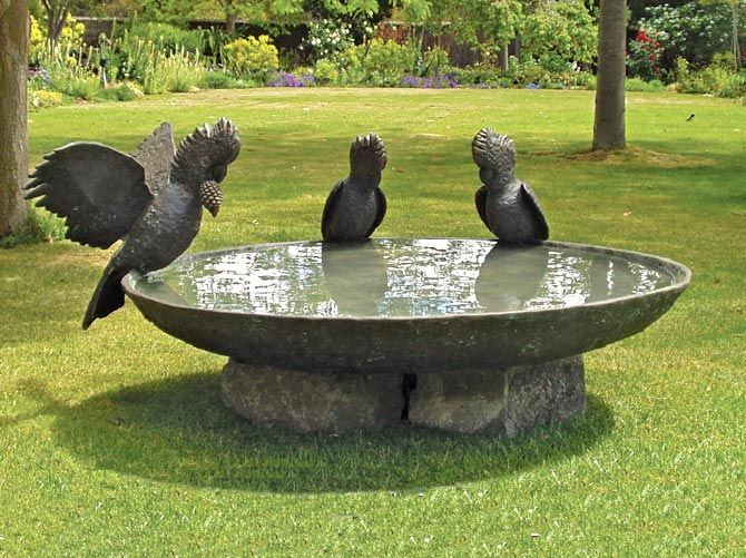 modern bird baths melbourne. garden sculpture: black cockatoo birdbath bowl - launched at the melbourne international flower \u0026 show, australia modern bird baths t