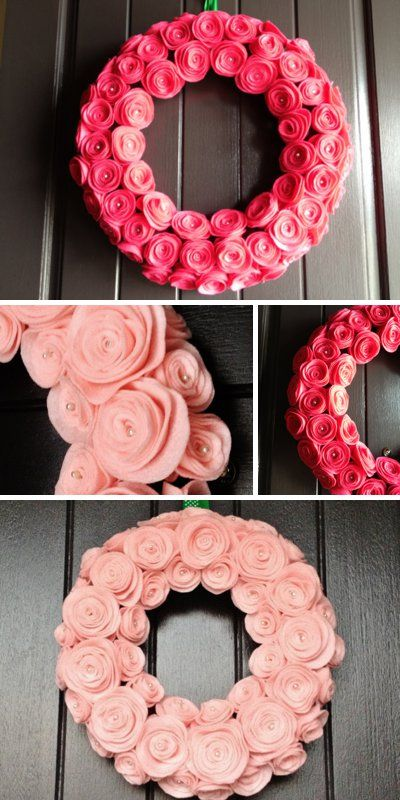 VALENTINE'S DAY: Beautiful felt rose Valentine wreaths...
