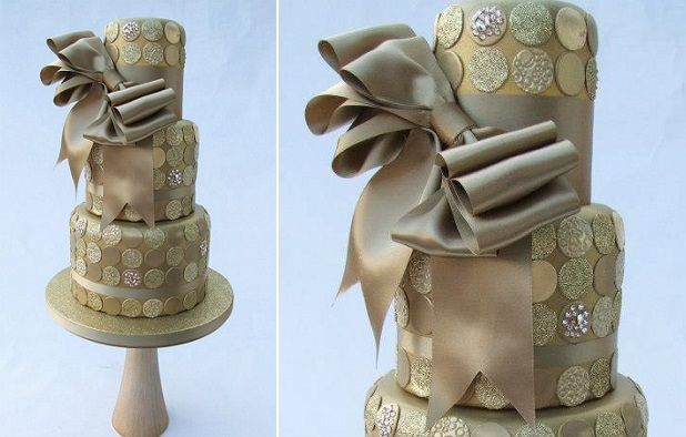 champage and gold wedding cake by Emma Jayne Cakes