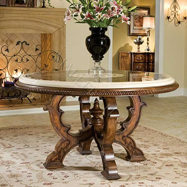 European Marble Top Carved Wood End Tables Furniture | Carved Center Table Small    $3,240.00