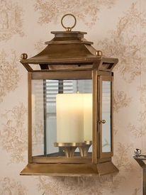 Gu739 Antique Brass Mirror Wall Lantern Hurricane