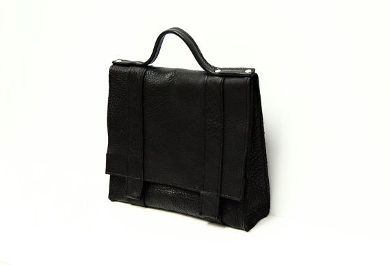 Black leather messenger bag // Mini by AngelaValentineBags on Etsy