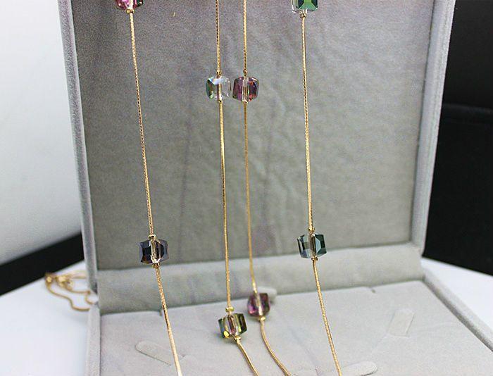 Európa módne Crystal šperky doplnky, rakúsky Crystal Bead Dlhé náhrdelník Sweater Chain Náhrdelníky & prívesky pre ženy