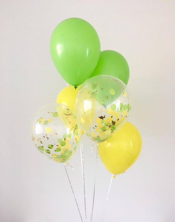 Yellow Lime Gold Confetti Latex Balloons Tropical Party Luau Party
