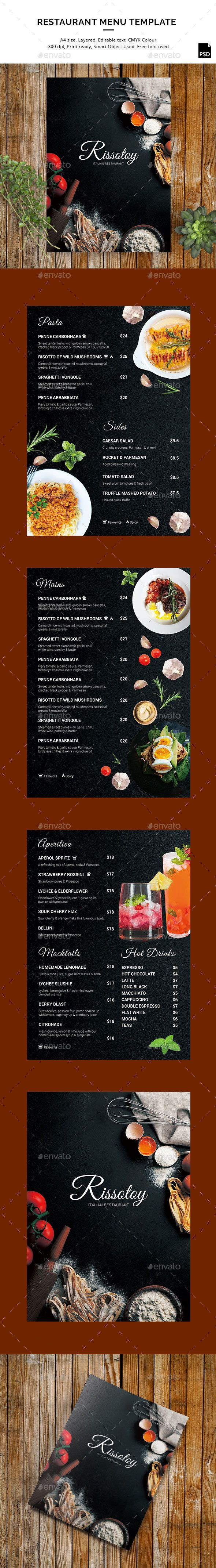 Rissotoy - Restaurant Menu in A4 size - Food Menus Print Templates
