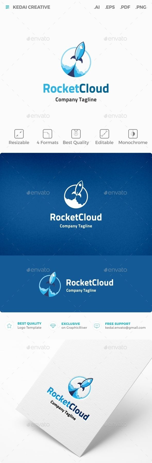 Rocket Cloud — Vector EPS #business #software • Available here → https://graphicriver.net/item/rocket-cloud/10107651?ref=pxcr