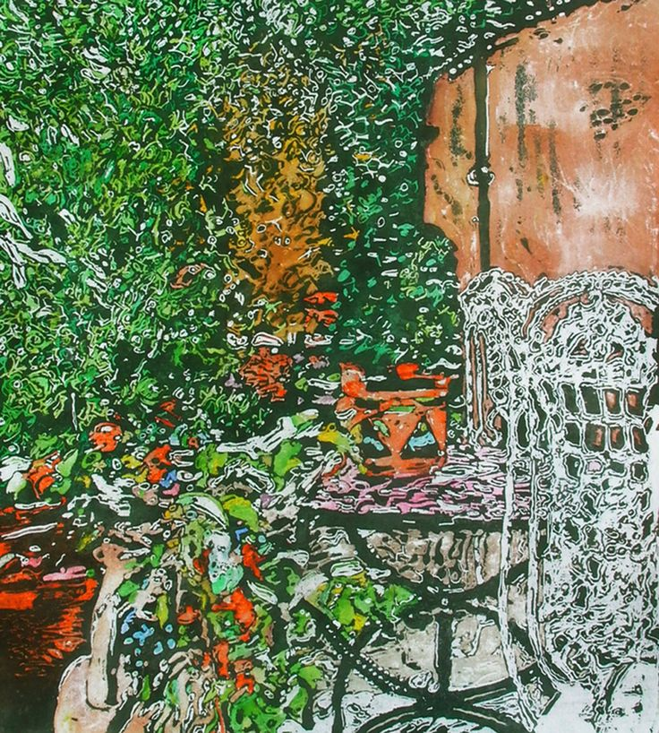 "secluded backyard paris (3) - 20"" x 18""   micheal zarowsky / watercolour on arches paper / available $900.00"