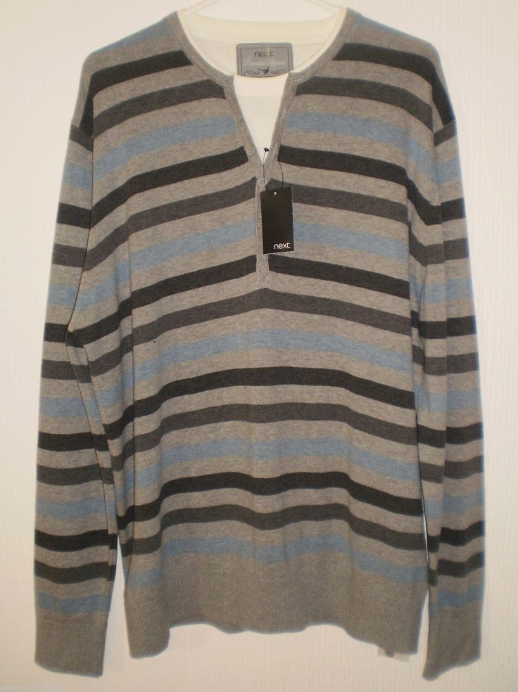Next Branded Apparel Mens Long Sleeved Multi Coloured Striped Jumper Size XL