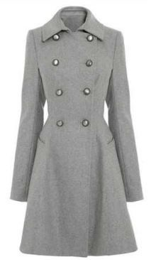 """Lady's Fit and Flare Coat by Next The 1820s and 1830s style of frock coat is now known as a """"fit and flare peacoat"""""""