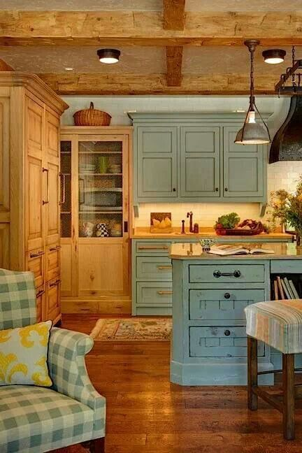 Green rustic kitchen