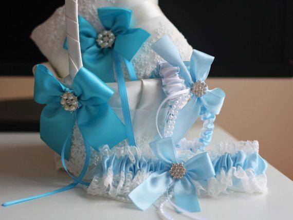 Turquoise Wedding Ring Pillow + Flower Girl Basket + 2 Bridal Garters Set \ Sky Blue Ring Bearer + Wedding Basket Set + Blue Wedding Garters