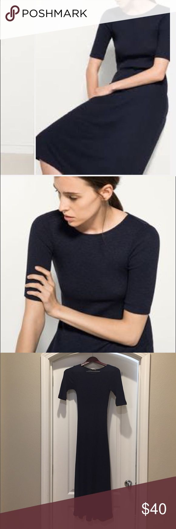 Knit ribbed A-lined dress in navy Like new. Wore once only. 68% cotton 32% viscose. Super comfortable, can go to office in heels or dress down with sneakers or flat sandals. Massimo Dutti Dresses Midi