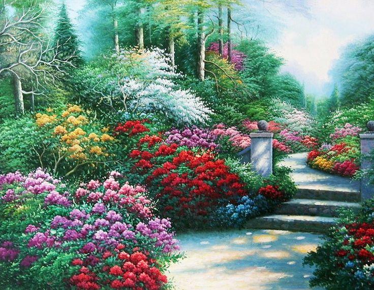 Paisajes mariposas y flores galeria paisaje con flores Cuadros para el jardin