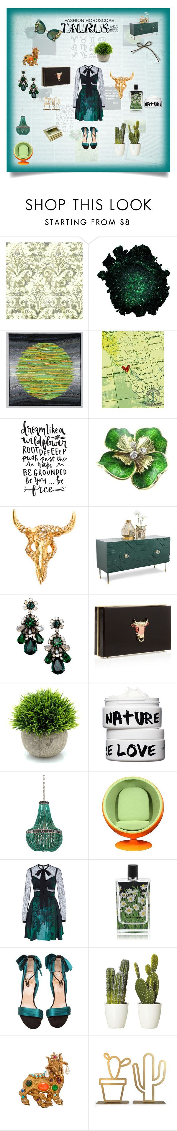 """""""Taurus"""" by trinity-reece on Polyvore featuring Christian Lacroix, Shourouk, Charlotte Olympia, Nature Girl, Currey & Company, Elie Saab, Nest Fragrances, Christian Louboutin and Dolce&Gabbana"""