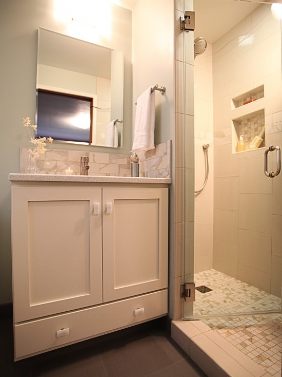 Tiny master bath only 7 x 4 there 39 s no place like for Small master bathroom remodel ideas