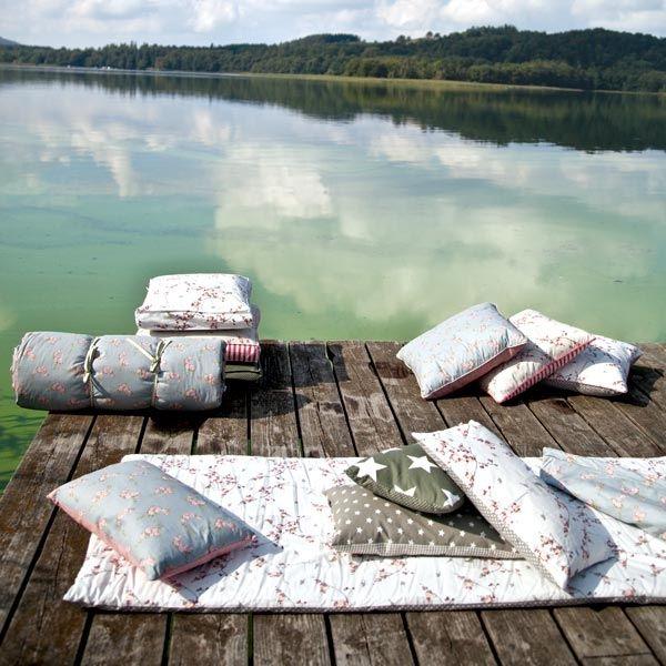 Picknick-Decke Birdcage Toffee/Coral 70/180 cm von AU Maison