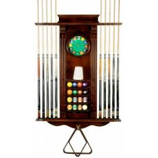 10 Cue Stick and Pool Ball Wall Rack With Clock Mahogany