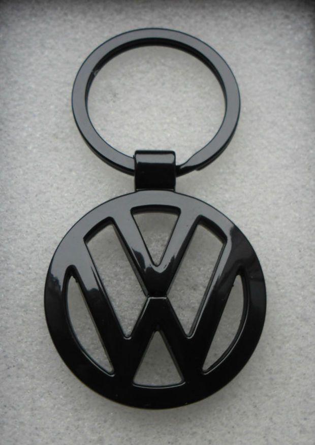 VW Volkswagen Gloss Black Satin Black Key Chain Ring Metal Passat Jetta Tiguan Golf CC GTI SportWagen Touareg Beetle Convertible