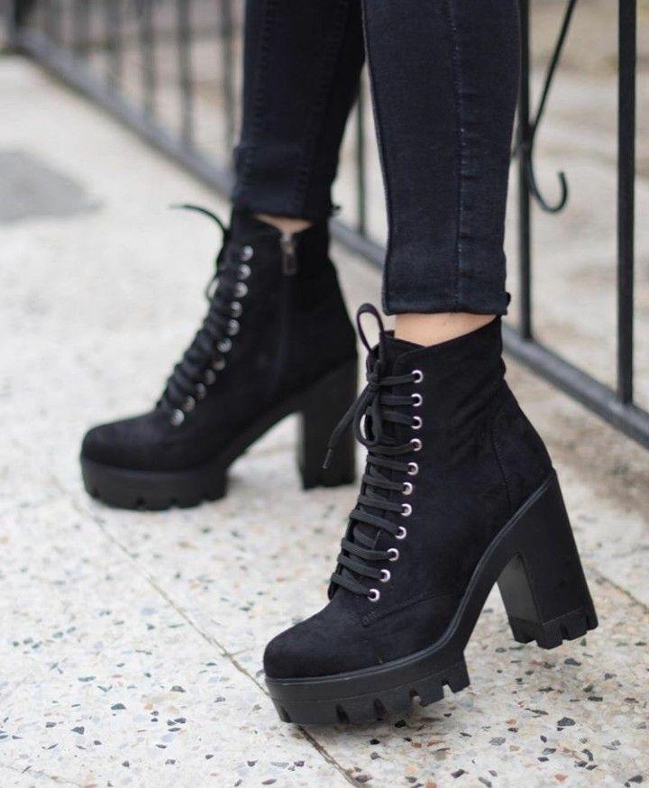 platform black heel boots