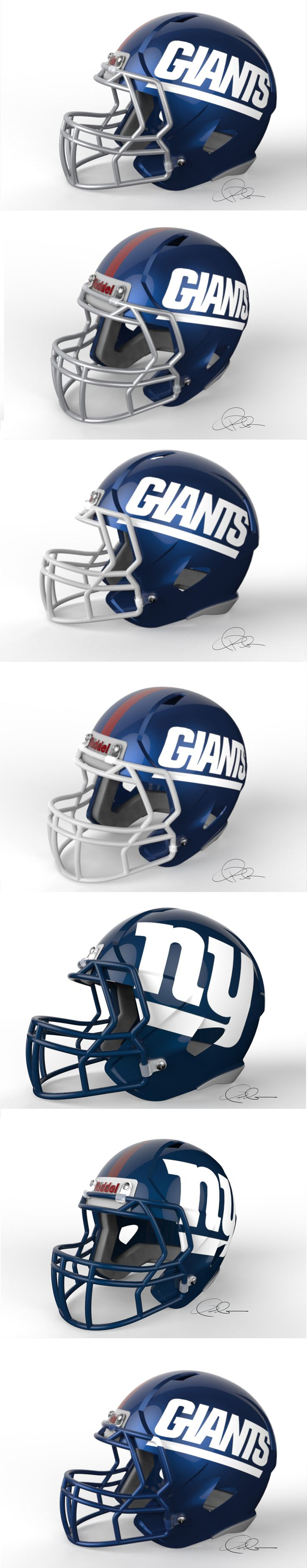 Some NY Giants helmet concepts I did awhile ago after ESPN released that garbage they found online.