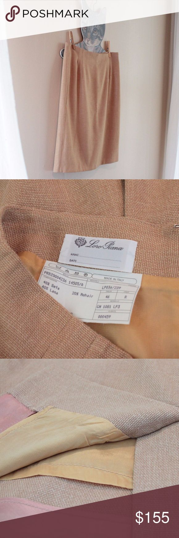 "Vintage Loro Piana Italian Mohair Camel Skirt Beautifully made classic vintage camel skirt by Loro Piana. Fully lined and perfectly tailored.   Loro Piana is an Italian clothing company specializing in high-end, luxury cashmere and wool products. This lovely skirt would have been hundreds of dollars new!  Label // Loro Piana Size // Fits like a US size 4 Material // 40% seta, 40% lana, 20% mohair Length // 21.5"" Waist // 29"" Hip // 38"" Loro Piana Skirts Mini"