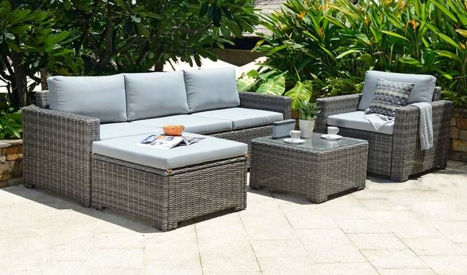 Sanea Corner Lounge Set Grey Garden Sofa Set Outdoor Lounge
