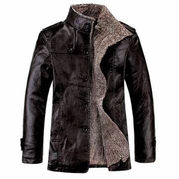 Men's Quality PU Leather Slim Fit Plush Lining Warm Jacket at Banggood