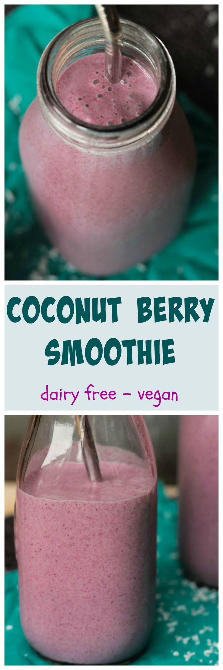 Coconut Berry Smoothie - a #creamy #delicious pretty in pink #smoothie using #coconutwater instead of plant milk. #vegan #dairyfree #berries #coconut