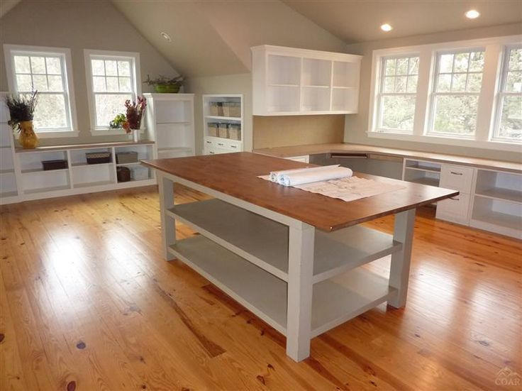 Island for sewing storage in fabric lined milk crates. Table top for cutting & quilt piecing. ~ Would love to find the source ~ practically identical to my room.