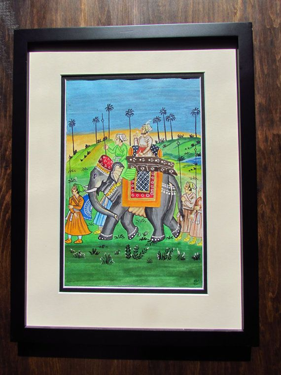 India painting India elephant India art Indian by TheColorWagon