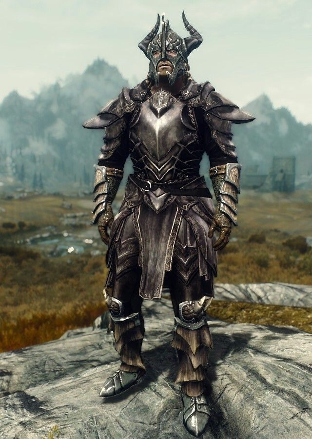 """Aspect of Alduin"" by Ocean Splitter  Ebony Armor  Dragonscale Boots and Gauntlets  Dragonplate Helmet"