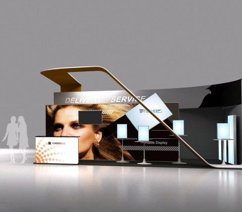Trade show booth design from Hawk Display. Using aluminum light frame to light your booth.