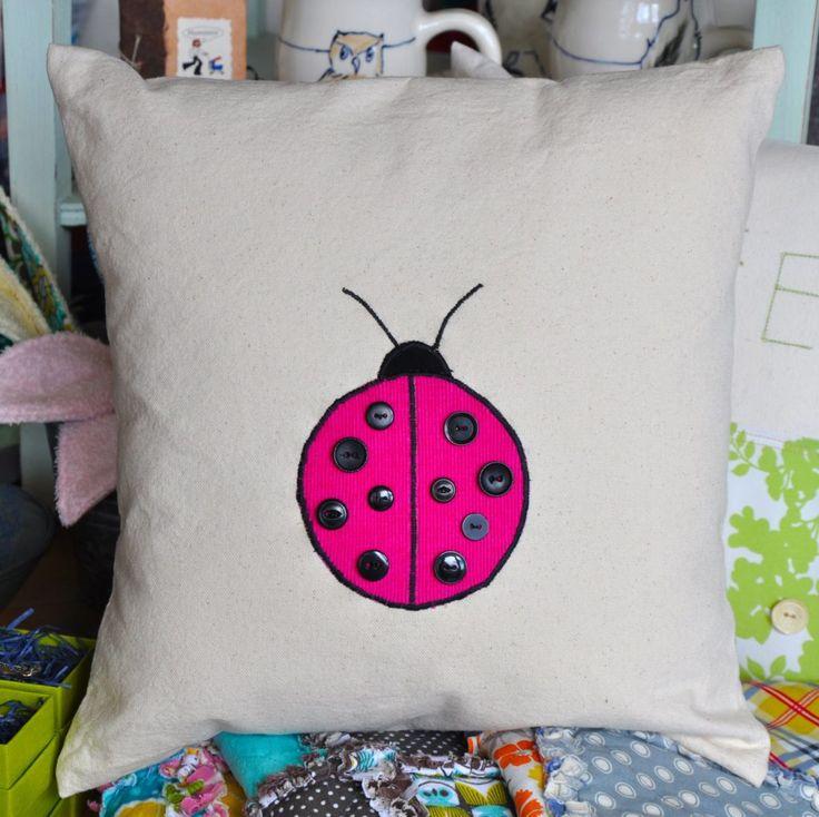 Bunny & Giraffe pillows - ladybug