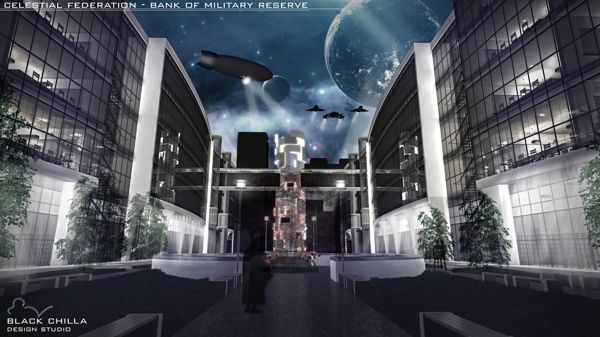 Celestial Federation - Bank of Military Reserve - Conceptual Project by architect Mateusz Wielgus || http://www.behance.net/gallery/Celestial-Federation-Bank-of-Military-Reserve/11610529 || #architecture #design #project #architektura #bank #businesscenter || Contact us: kontakt@blackchilla.pl