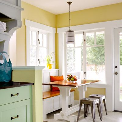 Built-in bench in a sunny breakfast nook | Photo: Alex Hayden | thisoldhouse.com