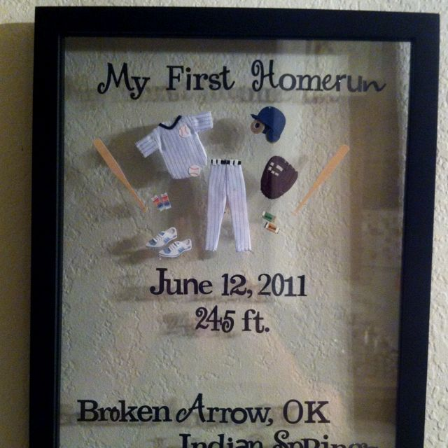 Homerun plaque...we didn't get the game ball for my step-sons first but I wanted to do something anyway. I bought a floating frame to trap the stickers inside. Very easy!