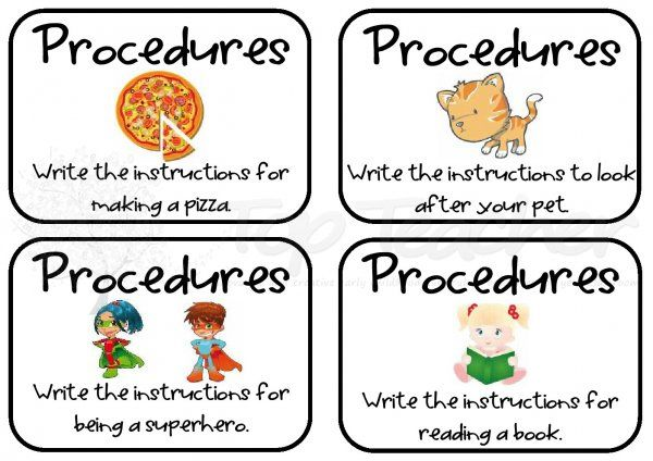 procedure writing task cards - great for naplan