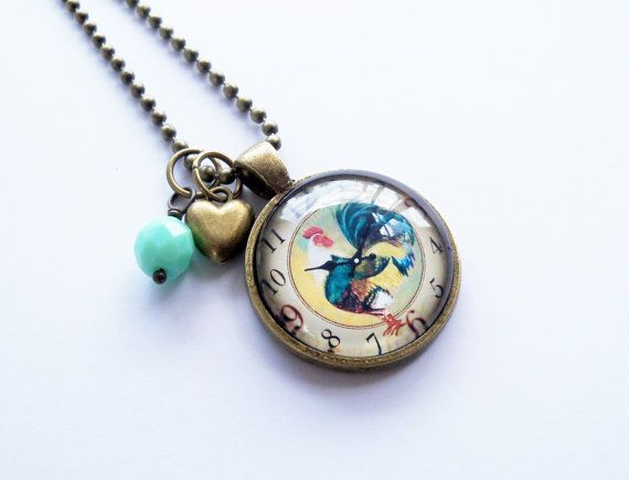 Rooster Clock Pendant Necklace  Custom Jewelry  Photo