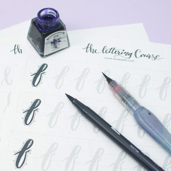 Printable Brush Lettering Practice Worksheets  These worksheets will help you learn the alphabet from a – z in uppercase and lowercase. These worksheets are designed for use with brush pens such as Tombow dual brush, Pentel water brush or Prismacolor Brush Marker. You can even use Crayola markers or any brush tip.  See them in action https://www.instagram.com/p/BQN3jIqgqlD/?taken-by=twoeasels     But wait, these worksheets are originally part of The Lettering Cou...