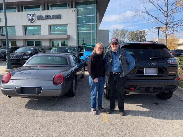 Fields Chrysler Jeep Dodge Ram In Glenview Also Congratulates Mike Judy On Trading In Their 2003 Ford T Bird For A Brand N Chrysler Jeep New Cars Jeep Dodge