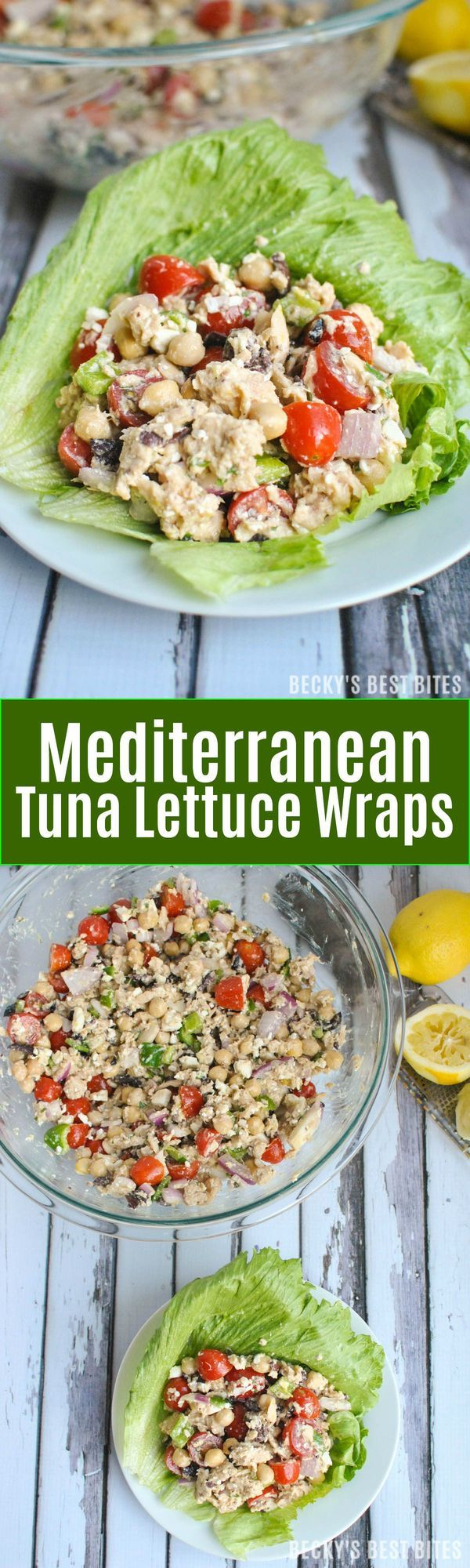 Mediterranean Tuna Lettuce Wraps are a simple, healthy, no-cook dinner idea. Recipe features chickpeas, olives, feta cheese, tomatoes in a dijon lemon vinaigrette. | beckysbestbites.com(Tuna Recipes)