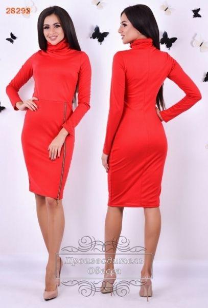 Трикотажноеженское платье в обтяжку красное классика