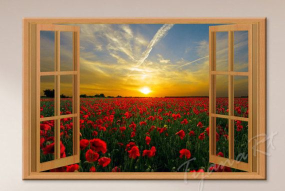 Flowers print Window view Nature photography Red Poppy by TyanaRt