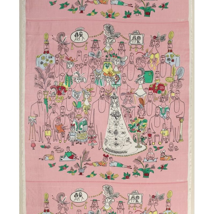 """The Wedding,"" by Saul Steinberg, 1950, silkscreen. Smithsonian Cooper-Hewitt, National Design Museum in New York"