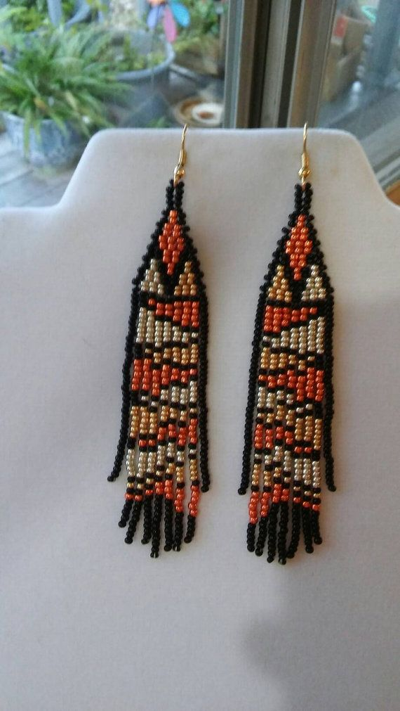Native American Style Beaded Snake Earrings Seed Beads