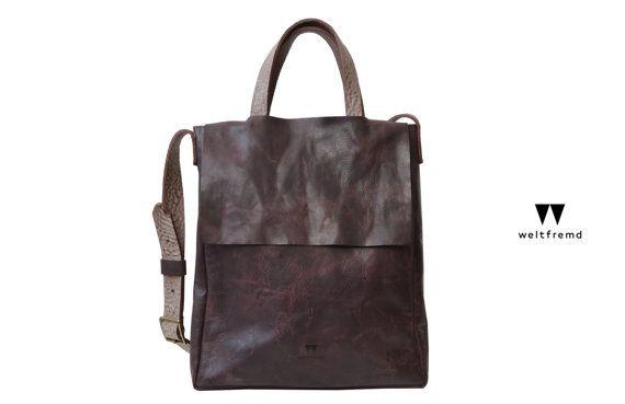 Bag Hoshi horse leather dark bordeaux wein red by weltfremd