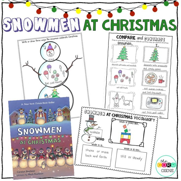 """Comprehension questions and activities that meet Common Core standards- """"Snowmen at Christmas."""""""