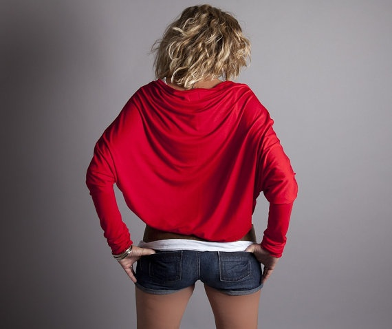 Red Shrug Bolero Long Sleeve Jersey Batwing Cardigan by MoonHalo, $63 ...
