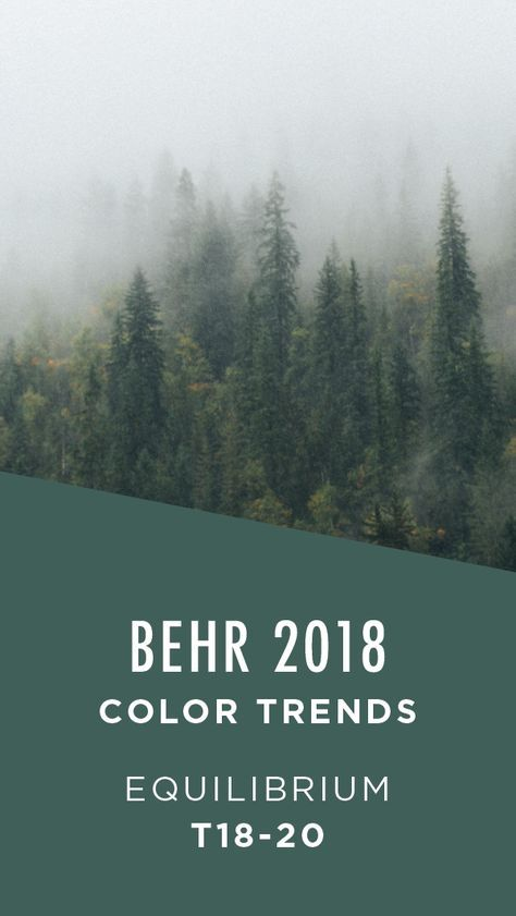 Equilibrium by BEHR Paint is a rich forest green color that calls to mind the peacefulness of nature. Try pairing this dark hue with light neutral furniture and accent colors to create balance in the interior design of your home. This modern shade is part of the BEHR 2018 Color Trends. Explore the full collection to discover the perfect paint color for your next project.