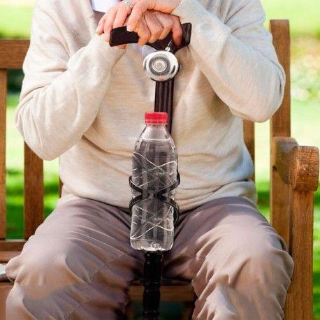 Bastón de Madera con Timbre y Soporte para Botellas